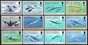 South Georgia 178-189, MNH. Whales and Dolphins, 1994