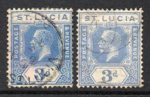 St Lucia 1921 KGV 3d both blue shades wmk MSCA SG 99, 99a used CV £33