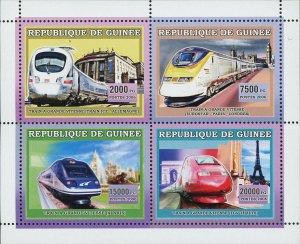 Train Stamp High Speed German Ice Alaris TGV Eurostar S/S MNH #4393-4396