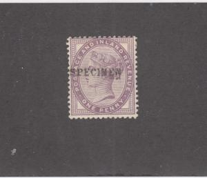 GB SG 172s VF-MLH 1d LILAC WITH SPECIMEN O/PRINT CAT VALUE £50