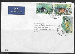 1987 Turks & Caicos Grand Turk (FE 2) fish stamps to USA
