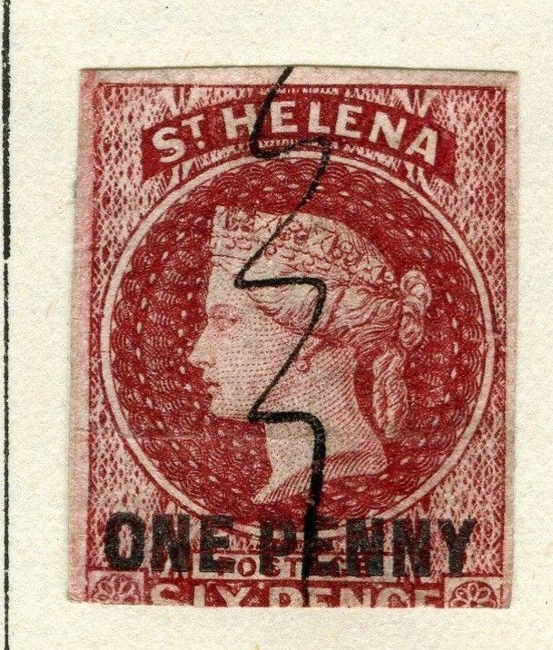 ST.HELENA;  1863 early classic QV issue Imperf 1d. on 6d. used (stuck down)