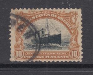 US Sc 299 used 1901 10c yellow brown & black Ocean Liner, F-VF