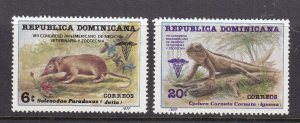 DOMINICAN REPUBLC ^^^^^^sc# 791-792  MNH set ( Wild Animals ) $$@ lar 1735dom