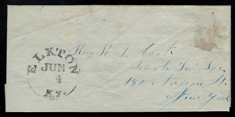 STAMPLESS COVER, bold ELKTON, KY,  June 4, hand cancel, letter enclosed, Nice...