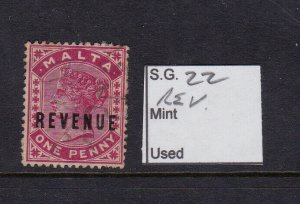 MALTA SG 22, 1d Carmine, Revenue Stamp