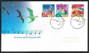 Christmas Is. Birds Music Christmas 3v issue 2000 FDC SG#484-486