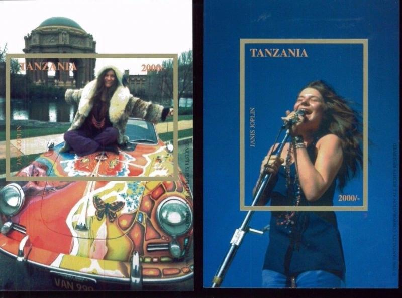 JANIS JOPLIN Photo Set x2 #1493a & 1439b MNH - Tanzania E36 &37