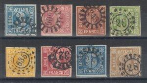 Bavaria Sc 2/12 used 1849-1862 Numerals, 8 diff w/ Millwheel cancels, F-VF