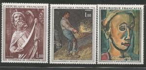 FRANCE 1295-1297, MNH, C/SET OF 3 STAMPS, VARIOUS ART