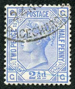 SG157 2 1/2d Blue Plate 22 Very Fine Used  Cat 45 pounds