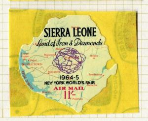 SIERRA LEONE;  1964 early World Fair ' Map ' issue Mint hinged 11s. value