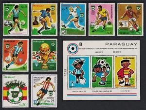 Paraguay World Cup Football Championship Spain 9v+MS COMPLETE RAR SC#1978-1981
