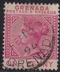 Grenada 1887 QV 1d Carmine used SG 40 ( L1350 )