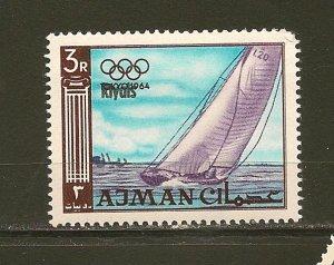 Ajman 35 Riyals Overprint 1964 Tokyo Olympics MNH