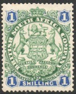 RHODESIA-1896-97 1/- Green & Blue Sg 35 MOUNTED MINT V37872