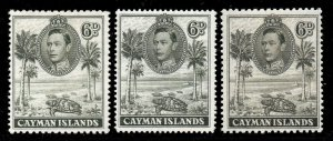 Cayman Islands 1938 KGVI 6d all perfs and shades SG 122, 122a, 122b mint.