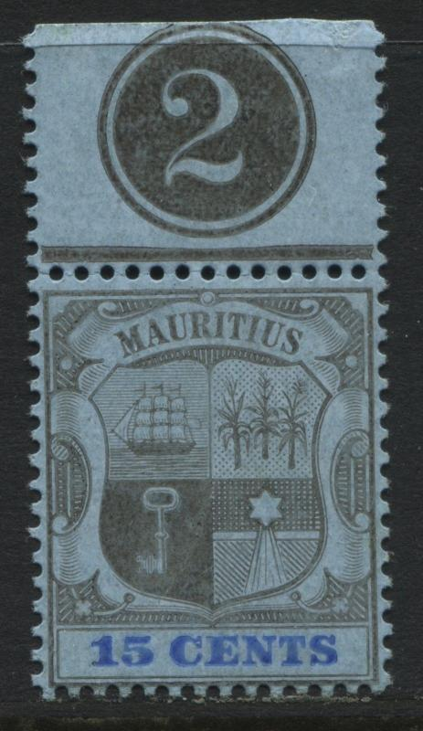 Mauritius 1895 15 cents with Plate number tab unmounted mint NH