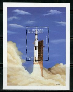 ST. VINCENT GR. THE HISTORY OF SPACE EXPLORATION SATURN V ROCKET S/S MINT NH