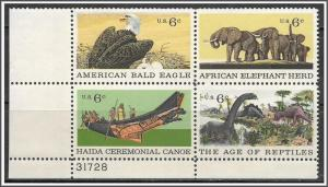 US Plate Block #1387-1390 Natural History Issue MNH