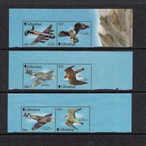 Gibraltar: 2000, Wings of Prey, 2nd series, birds, aircraft, MNH set +2 M/S