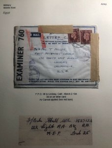 1942 Middle East Force Egypt Air Letter Cover To Methodist Church Lindsay Usa
