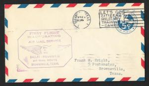 UNITED STATES First Flight Cover 1929 San Antonio to Brownsville