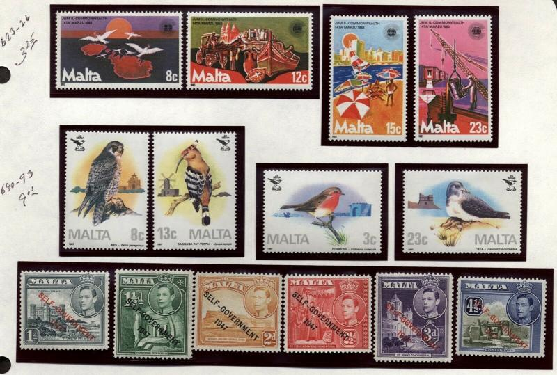 Malta Topical collection Birds,flowers,Fish Mint Never Hinged in mounts jp