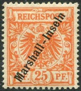 MARSHALL ISLANDS-1897-1900 25pf Orange Sg G9 MOUNTED MINT V36440