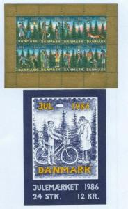 Denmark.  Booklet  1986  Christmas Seals MNH.  Christmas In The Forest. Fox.