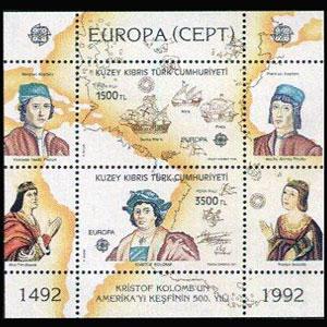 TURKISH-CYPRUS 1992 - Scott# 326 S/S Europa NH