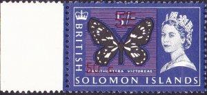 BRITISH SOLOMON IS 1966 QEII 50c on 5/- Black, Ultramarine & Violet SG150B MNH
