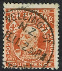 NEW ZEALAND 1909 KEVII 4D PERF 14 X 14.5 USED