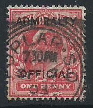 GB Edward VII SG O102 FU Admiralty Official overprint