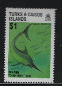 Turks & Caicos Islands 755 Hinged, 1988 Blue Marlin