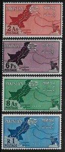 Pakistan #108-11 MNH Set - Map