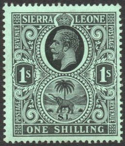 SIERRA LEONE-1912-21 1/- Black/Green Sg 124 MOUNTED MINT V42964