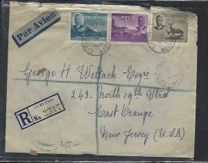 MAURITIUS COVER (P1311B) 1950 KGVI 5C+35C+1R REG A/M COVER FROM CUREPIPE TO USA