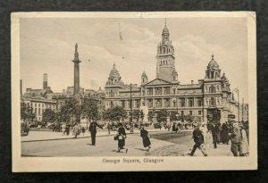 1925 George Square Glasgow Scotland Real Picture Postcard RPPC Cover