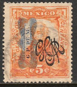 MEXICO 544, 5c CORBATA & CARRANZA MONOGRAM REVOLUT OVPT USED. F-VF. (123)