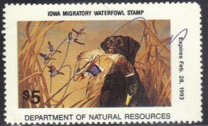 IOWA WILD LIFE MIGRATORY WATERFOWL STAMP 1992 SIGNED  SEE SCAN