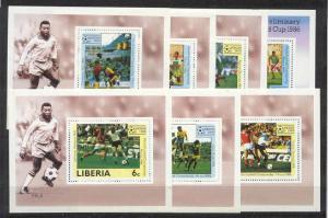 Liberia 1030-36, 7 MNH s/s Football-86