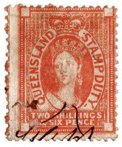 (I.B) Australia - Queensland Revenue : Stamp Duty 2/6d (1873)