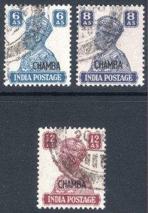 India Chamba 1940 GVI on 6a-12a SG 117-119 Scott 98-100 VFU Cat £188($244)