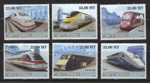 Mozambique MNH Set Of 6 Monorail & Speed Trains 2009