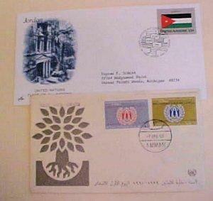 JORDAN  FDC 1960,1964 & UNITED NATIONS 1988  CACHET