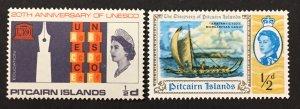 Pitcairn Islands 1966-70 #64 &67, Unesco, Canoe, MNH.
