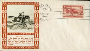 #894 SACRAMENTO, CAL. FIRST DAY COVER LOUISE WEIGAND CACHET BM9922