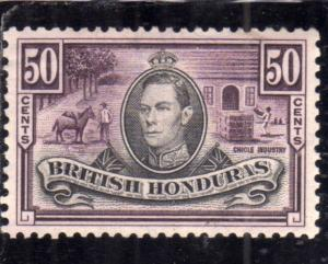 BRITISH HONDURAS BRITANNICO 1938 KING GEORGE VI CYCLE INDUSTRY CENT. 50c MNH