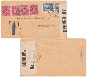 Bolivia 5c Mount Illimani (2) 1920 La Paz, Bolivia to Philadelphia, Penn.  Sh...